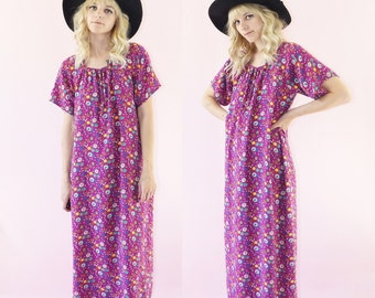 Original 1970s Floral Tunic Maxi Dress, 70s Bohemian Tent Dress, Kaftan, 70s Festival Dress, One Size