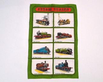 Steam Trains Linen Tea Towel Vintage Ulster Locomotive Irish Linen Towel Railroad Engine Towel 1970s 1980s Locomotion The Rocket Clan Line