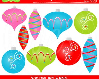 50% OFF Christmas Ornaments Digital Clipart Set - Ornaments Clip Art - Holiday Clipart - Christmas Clipart - Commercial Use
