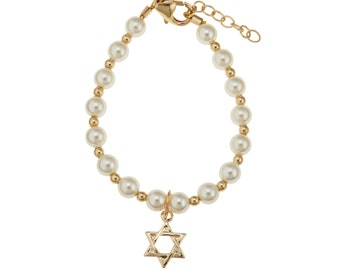 Swarovski Cream Pearls with 14kt Gold filled Beads and Star of David Charm Bracelet (BGSD)