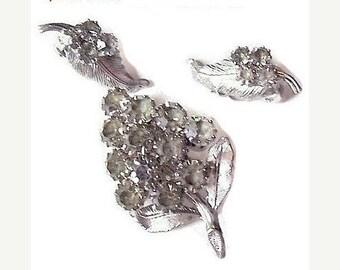 "Rhinestone Brooch Earring Demi Set Smoke Smoky Clear Silver Metal Designer 2"" Vintage"