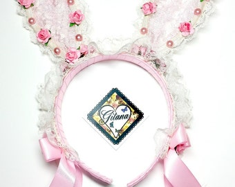 Lace Bunny Floral Headband-Lolita Bunny Headband-Fairy Kei- Lolita Headband-Pink-Lolita-Lolita Fashion-Harajuku-lace Bunny Ears-Bunny Ears