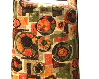 Vintage Atomic Mid Century Modern Barkcloth Chair Seat Cushion Pad w/ loop ties Gold Orange Brown Avocado Green Retro Mod House N Home Print