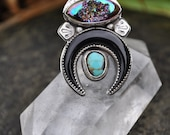 Close Encounters / Titanium Quartz Druzy with Carved Horn Crescent Moon and Royston Turquoise / size 7