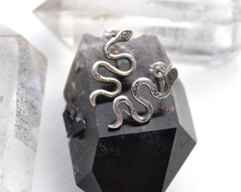 After Midnight // Sterling Silver Serpent Stud Earrings