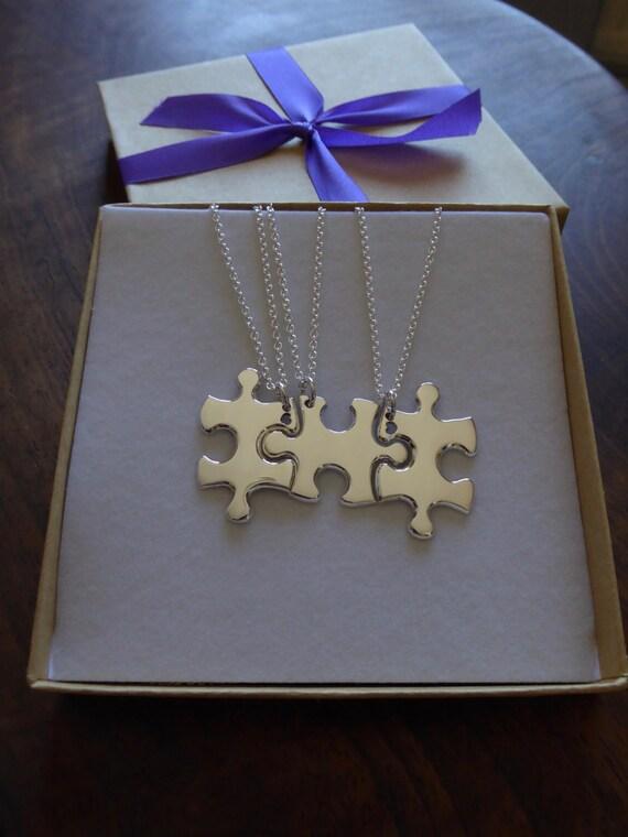 Three Puzzle Heart Pieces, Best Friends Necklace Pendants