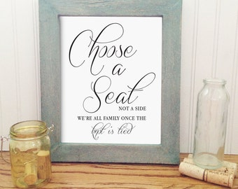 Printable wedding choose a seat sign, 8X10 elegant wedding sign, wedding decor, instant download