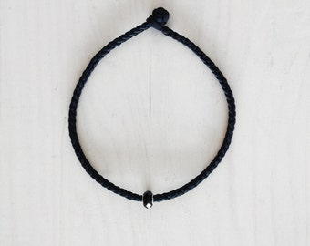 NEW - the orbit necklace - handmade with a black hand braided fabric and a black faceted glass bead