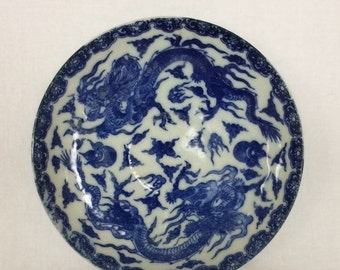 Plate Dragon Ming Blue  Saucer