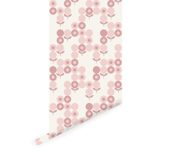 Geometric flowers wallpaper floral peel and stick wallpaper Floral peel and stick wallpaper