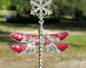 DRAGONFLY JOY Red Sparkling Tree Jewelry Christmas Ornament