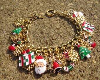 CHRISTMAS JOY snowflake golden Santa snowman Charm Bracelet