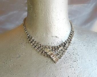 30% OFF Vintage Art Deco Rhinestone Necklace - 1920s Choker - Vintage Wedding - Bridal Necklace - Cocktail Party - Art Deco Jewelry