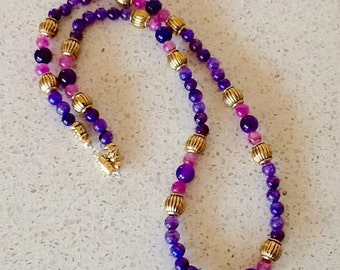 Purple & Pink Passion Beaded Necklace