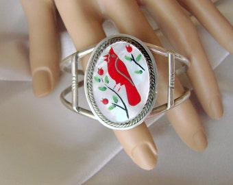 Southwestern Mother of Pearl Inlaid Sterling Cuff Bracelet / Cardinal Motif / Native American / Vintage Jewelry / Jewellery