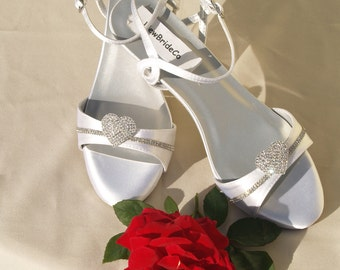 Wedding hearts Shoes low Wedge 1 inch heel, Crystals hearts brooch Short Heel,White Satin Open Toe Bridal Sandal, Bling, Old Hollywood,Deco