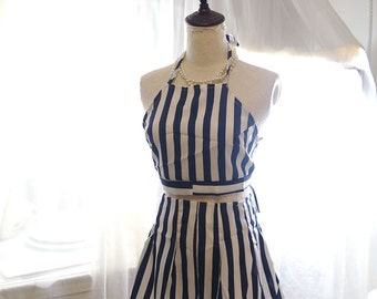 Boho Bohemian Navy blue and White Striped Halter Crop Top + Shorts Romper Chiffon beach wear summer  Romantic Angel