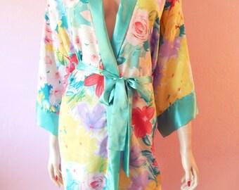 Victoria's Secret- Mint Floral Kimono- Small, Medium, Large