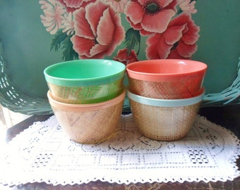 Four Insulated Ice Cream Bowls, Thermal Plastic Raffia Bowls, Raffiaware Dessert Bowls