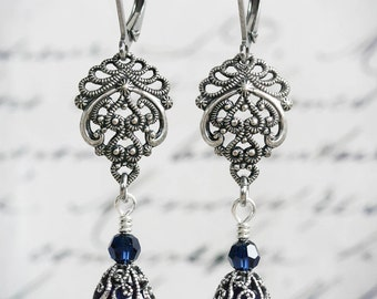 JOLIESSE Earrings Victorian Bridal Crystal Deep Indigo Blue Earrings, Heirloom Renaissance Gothic Bridal Earrings, Custom Options Available