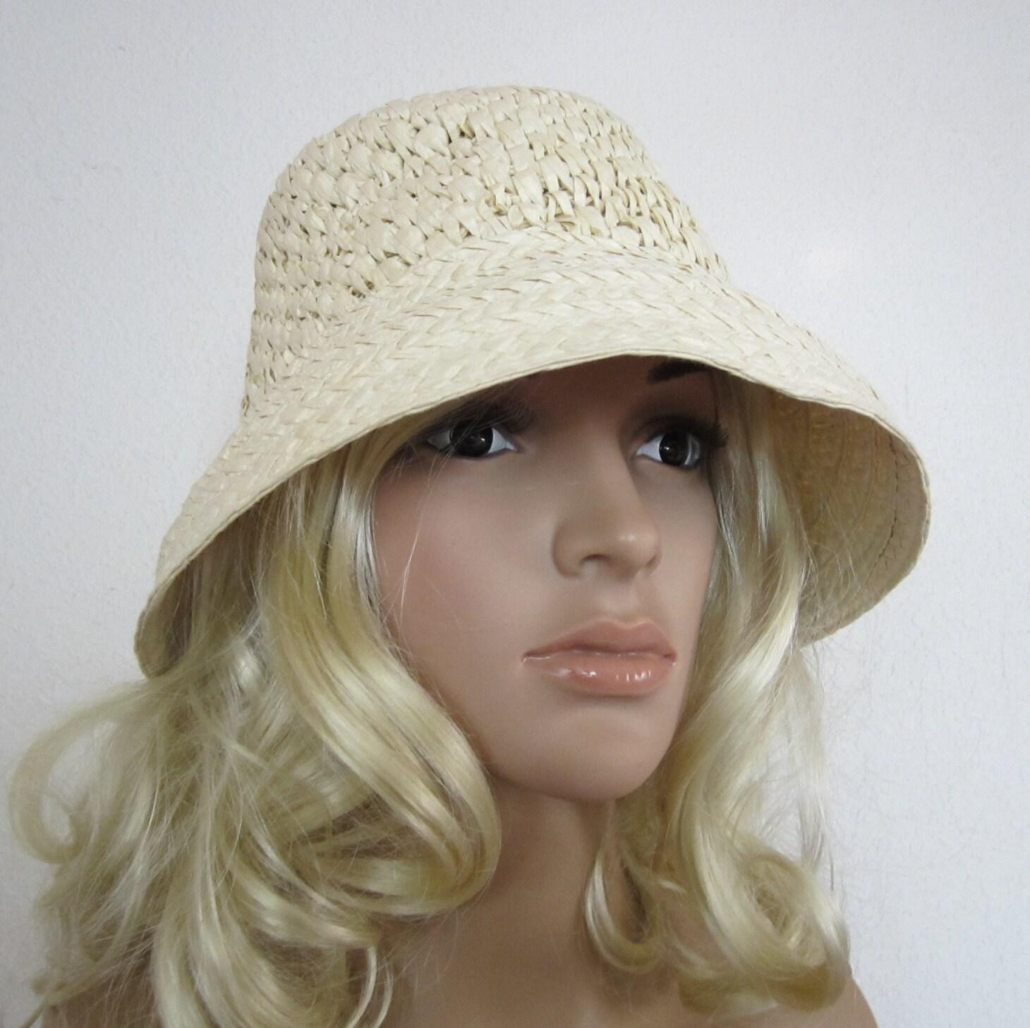 Womens Summer Hat Beige Straw Bucket Hat Womens Vintage