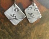 Dog Doggie Puppy Pet Cloud Sun Asymmetrical Earring Hand Stamped Metal Hand Made Jewelry Dangle Drop Earrings