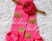 Hot Pink and gold polka dot leg warmers, baby leg warmers, girls leg warmers, pink gold birthday outfit, pink and gold leg warmers, leggings