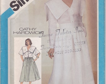 Very 80s Dress or Blouse & Skirt Pattern Simplicity 6441 Size 8 Uncut