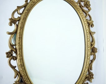 Vintage Syroco Mirror Ornate Oval Gold Hollywood Regency Mid Century
