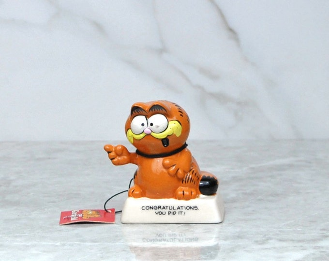 "Vintage Enesco Garfield the Cat ""Congratulations, You Did It!"" Ceramic Collectible Figurine 1981, Graduation, Cat Figurine, Cat Collector"