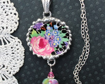 Necklace, Broken China Jewelry, Oval Pendant, Black Floral Chintz