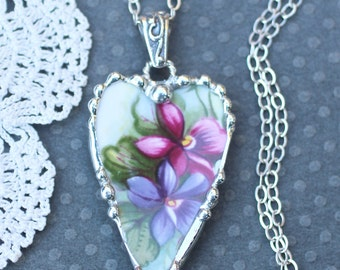 Necklace, Broken China Jewelry, Broken China Necklace, Heart Pendant, Pink and Purple Violet China, Sterling Silver Chain