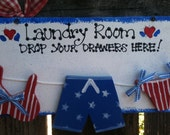 LAUNDRY SIGN AMERICANA Drop your drawers here Country wood crafts Home decor
