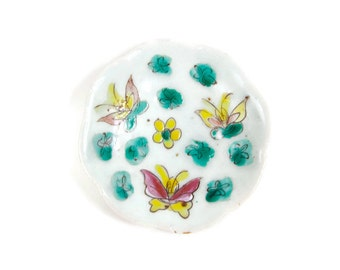 Antique Chinese Porcelain Footed Dish Oriental Pottery Enamel Hand Painted Butterflies Floral