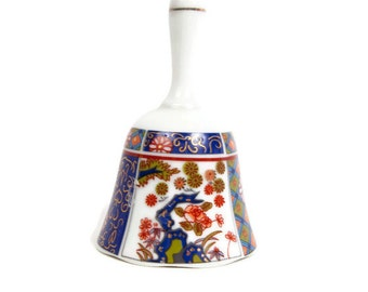 Vintage IMARI JAPAN Bell Cobalt Blue Green Orange Gold Trim Floral Design Fine Porcelain