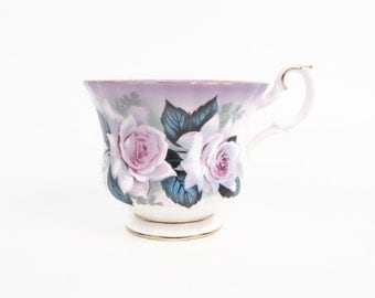 Vintage Royal Albert Teacup Bone China England Pink Lavender Roses Hand Painted Footed Tea Cup
