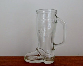 Boot Mug Glass Souvenir from Bavarian Inn Frankenmuth, Michigan Clear Glass with Handle