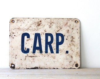 Retro industrial vintage metal sign / metal text sign carp / minimalist retro home decor / blue white sign / industrial rustic wall decor