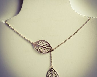 SALE Necklace handmade vintage with fashion leaf pendant - love