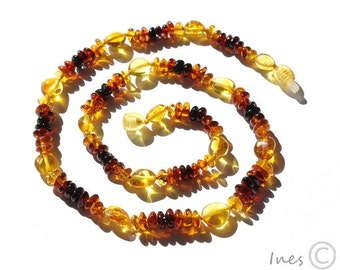 Simple Baltic Amber Rainbow Adult Necklace, Genuine Baltic Amber
