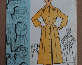Vintage French Original Sewing Pattern 1950's Patron Modèle Ladies Shirtwaist Dress Mannequin Size 48 - Bust 41 No 101100