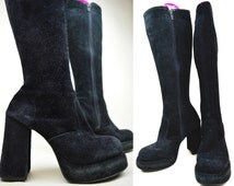 90s Does 70s Grunge Goth Witchy Boho Stevie Nicks Black Suede Chunky Heel Knee High Platform Gothic Boots UK 5 / US 7.5 / EU 38