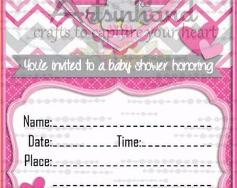 Baby Girl Elephant Shower Invitation