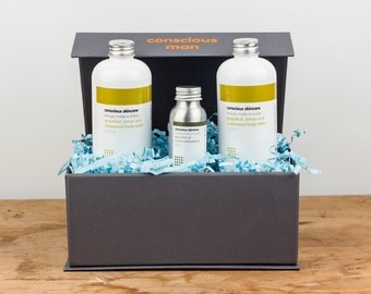 Gift Set. Organic. Conscious Man Body Collection. Contains Face Oil, Lotion, Shower Gel. Gift for Men. Birthday Gift. Shower Gift. Natural