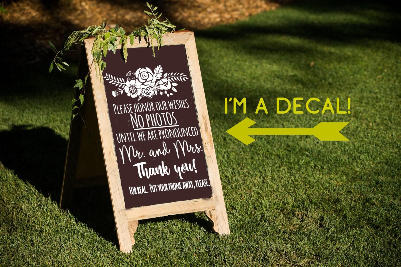 Unplugged Wedding Sign Decal No Photos Sign Diy Wedding