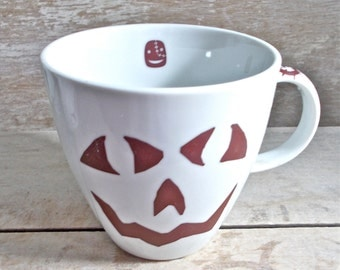Jack-O-Lantern Faces Mug, Coffee Cup with Faces, Large 16 oz porcelain Mug, Halloween, Left Handed, Fall, Spooky, Ready to Ship