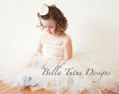 Flower Girl Tutu Dress Empire Waist Babydoll Style in Ivory or White with Satin Flowers and Satin Sash CUSTOMIZABLE