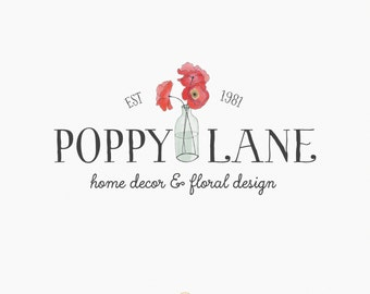 Premade Logo Design - Red Poppy - Watercolor - Florist Logo - Boutique Logo - Photography Logo - Branding -  Poppies Logo - Flower Logo