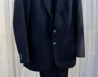 SALE-Vintage 80's Egon Von Furstenberg men's black pin stripe suit 42L