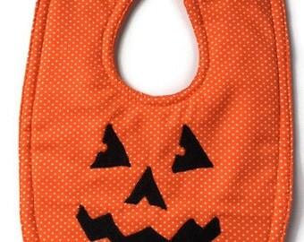 Halloween Bib - Pumpkin Bib - Jack O Lantern Bib - Fall Bibs - October Baby Gifts - Orange Bib - Toddler Bib - Dribble Bib - Autumn Baby -